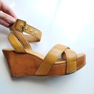Tory Burch Almita Royal Leather Wood Wedge Sandals